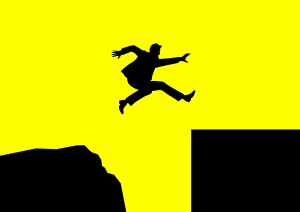 Silhouette Businessman Jump Yellow
